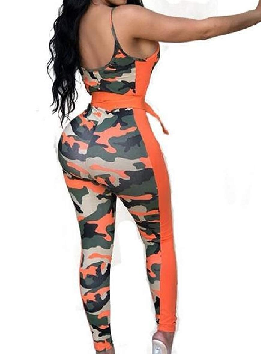 Tootless-Women Silm Mid-Rise Stitching Camo Sling Jumpsuits Romper