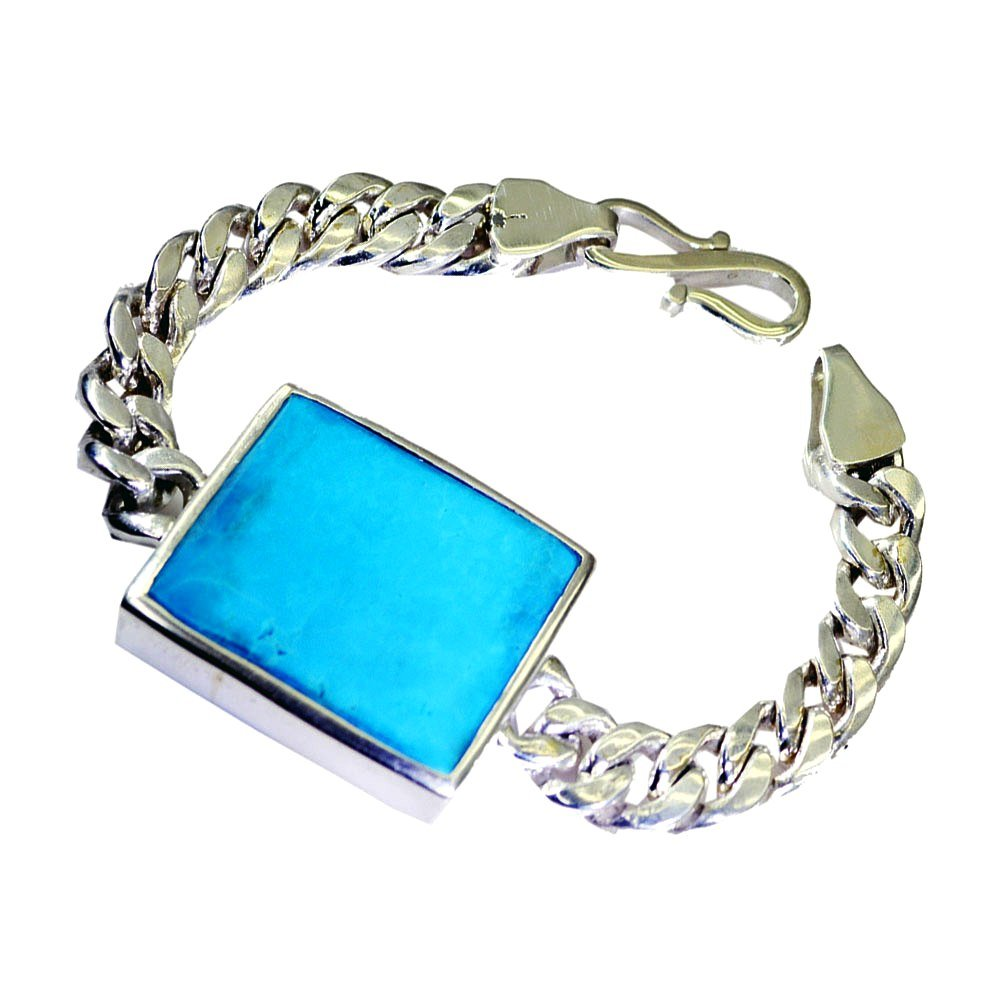Jewelryonclick Natural Turquoise Bracelet December Birthstone Square Cabochon Link Style 925 Silver Length 6.5-8 Inches