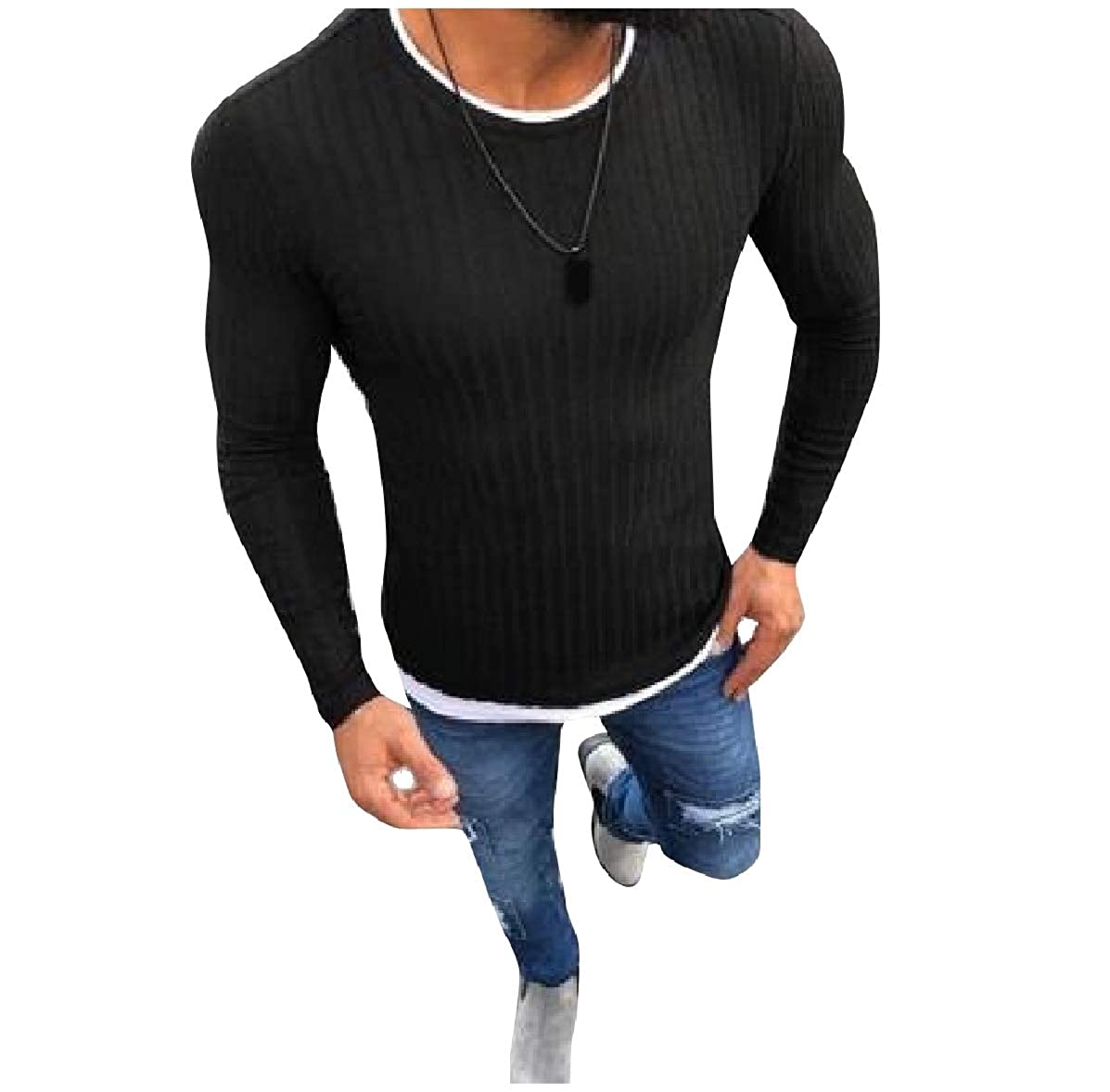 YUNY Mens Thermal Casual Leisure Pullover Knitwear Crew Neck Sweaters Black XL