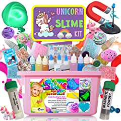 OUR SLIME KIT CONTAINS : 1 Large durable plastic gift box with handle2 Clear glue1 White Glue1 Activator (Borax powder in a bottle)1 Borax powder in a bag (extra)6 Glitter6 Pigment3 scent 1 Glow powder3 Styrofoam beads (assorted color)1 Clay9...