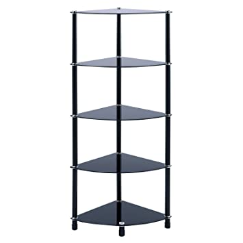5 tier black glass corner shelf rounded shelving unit display table storage