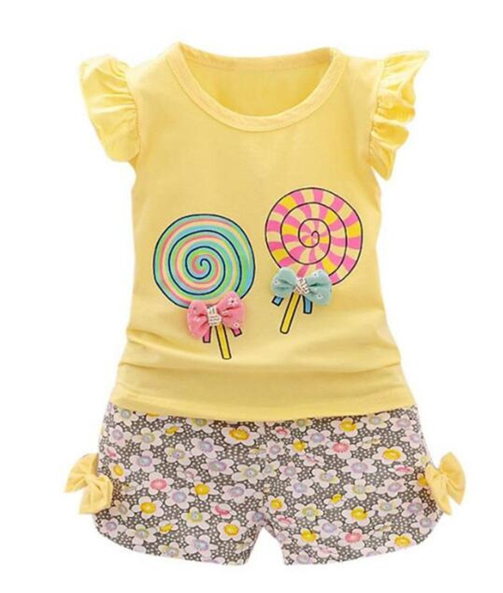 Baby Girl Summer Casual Clothing Suit Short Sleeve Striped T-Shirt +Pants Size 18-24Months/Tag L (Yellow 2)