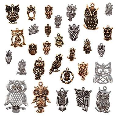 DIYJewelryDepot TM: 50 piece Tibetan Pendants Style Owl, Mixed Styles, Antique Bronze,
