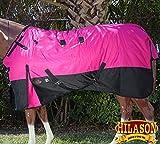 HILASON 78'' 1200D RIPSTOP WATERPROOF TURNOUT WINTER HORSE BLANKET PINK BLACK