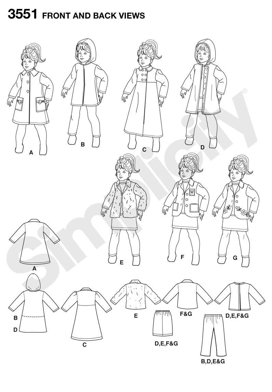 Simplicity 3551 - Patrones de costura para hacer ropa de muñeca ...
