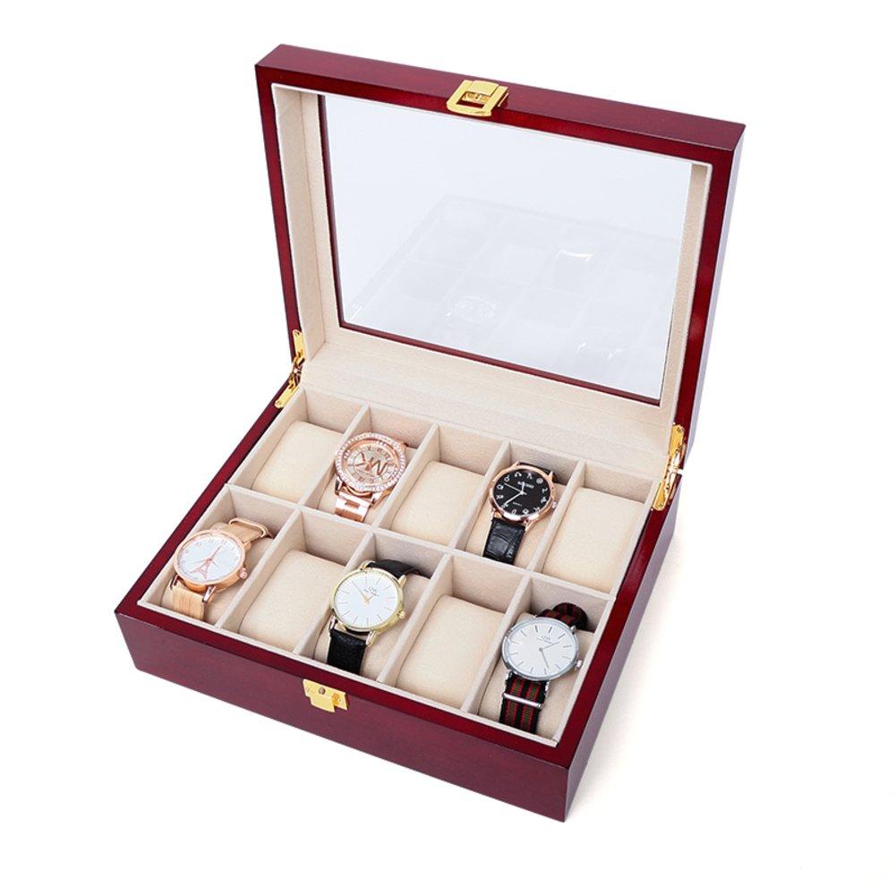 Wooden Watchストレージボックスブレスレットボックスwith Wrist Watch整理のコレクションボックス 28 B074PMWTB1 E E