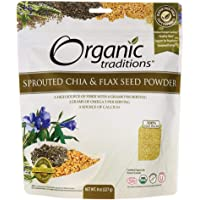 Organic Traditions Sprouted Chia and Flax Seed Powder, 8 Ounces