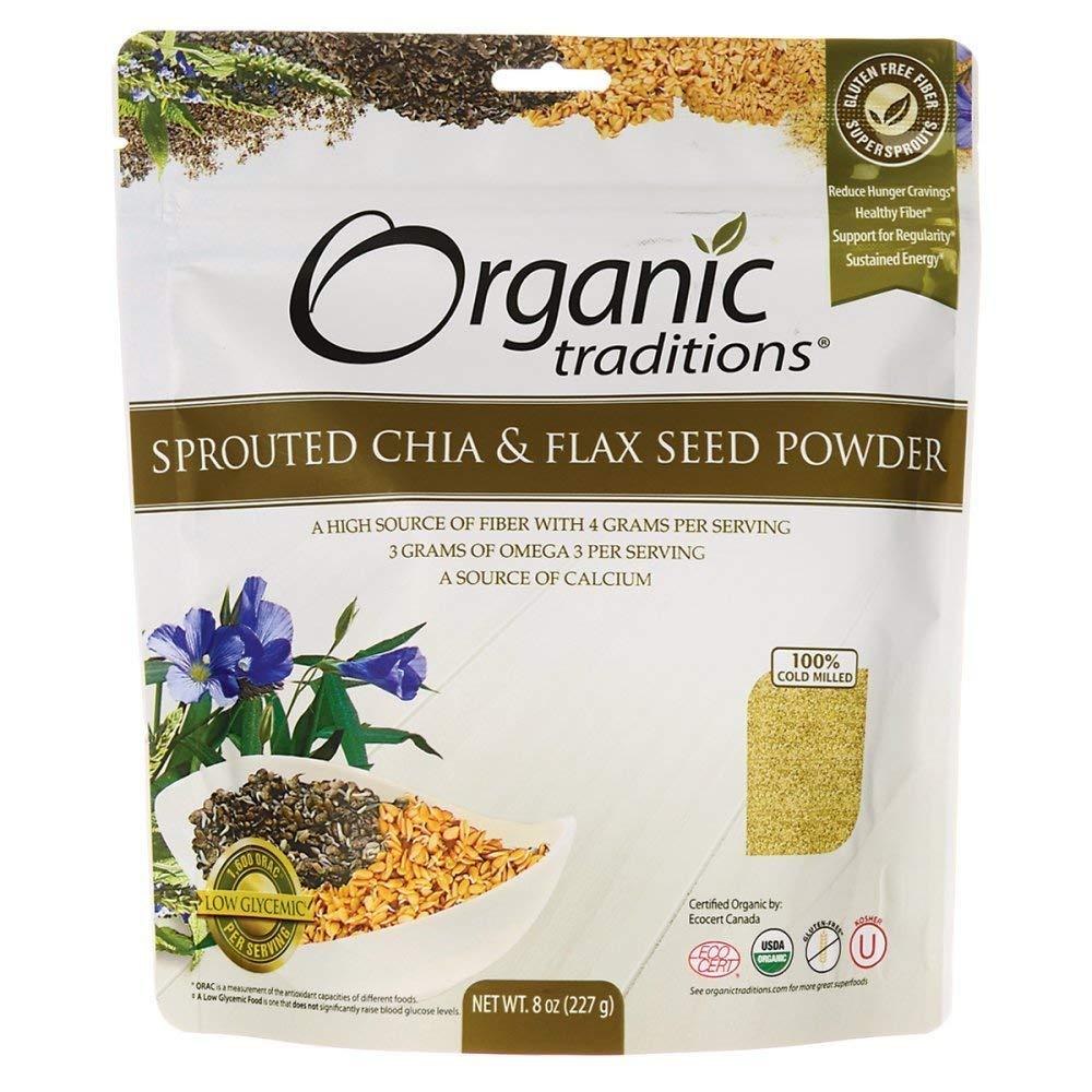 Organic Traditions - Polvo brotado de la semilla de Chia y de lino ...