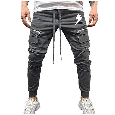 pantalón Largo Deporte Moda Slim Color sólido Pantalones ...