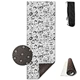 KJDHAPI2 Black And White Sketch Style Game Set Single Side Print Yoga Mat With Carrying Strap For Fitness,Travel And Yoga Class