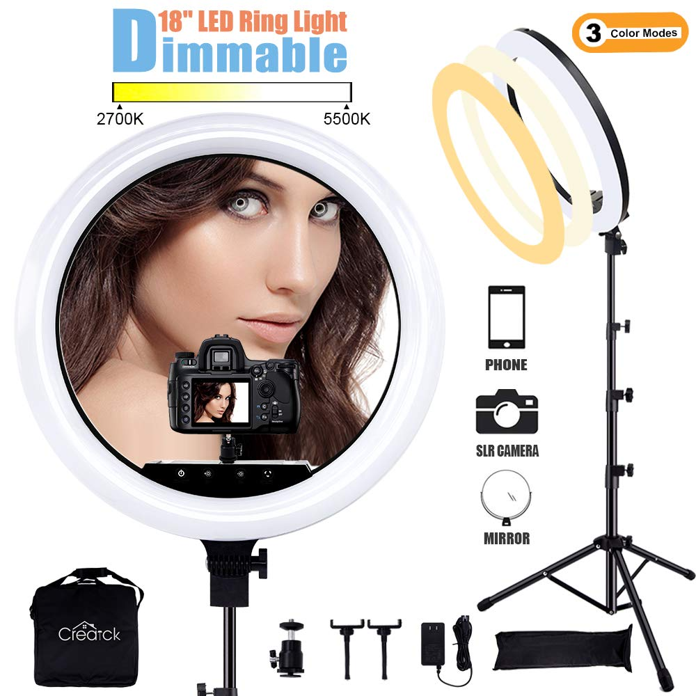 Creatck 18'' LED Ring Light with Tripod Stand, Dimmable 3 Light Modes 2700-5500K & Touch Button Design, Selfie Ring Light with 3 Holders/ 1 USB for Camera, Makeup, YouTube, Self-Portrait Shooting by Creatck