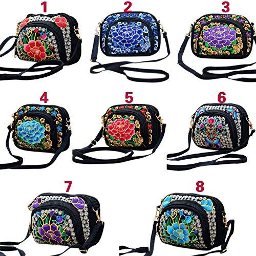 Bolsa Messenger Bag Hombro La 5 Bordado Nacional De Nuevas Estilo Mujeres Lona Lienzo Espeedy 2017 Bolsa Flor 4qpg5w