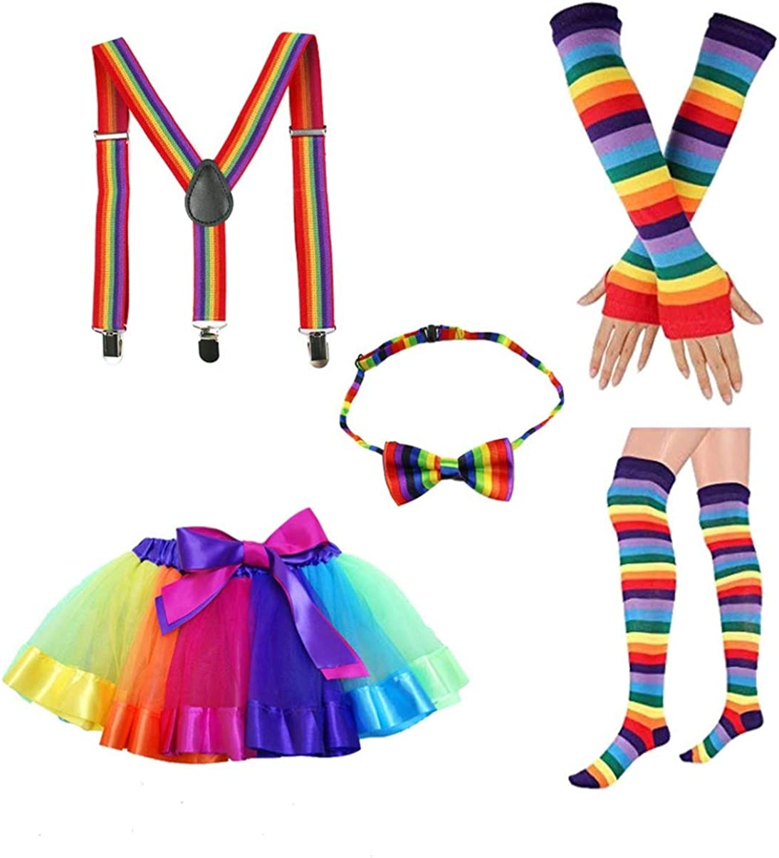 Amosfun Rainbow Tutu Skirt Long Gloves Stocking Bowknot Tie Suspenders Costumes Accessory Set for Children