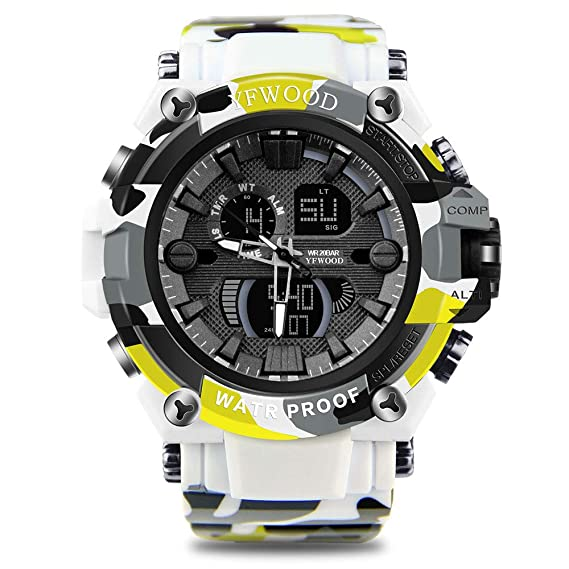 Reloj de pulsera para hombre, resistente a los golpes, multifuncional, doble cuarto,