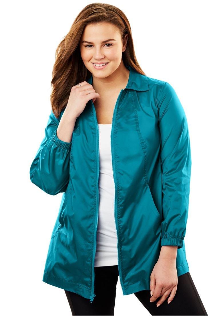 Women's Plus Size Zip Front Nylon Jacket