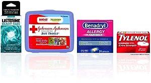 JOHNSON & JOHNSON Portable 70 Piece First Aid Kit, Listerine Tabs Mint Flavor, Tylenol Extra Strength Caplets,Benadryl Liquid-Gels 24 ea 1 ea