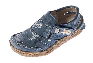 Damen Comfort Sandaletten Leder Schuhe TMA 7668 Weiss Halbschuhe im Used Look Sandalen Gr. 37 NPsFQ