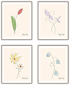 ROSYPAPER Minimalist Line Art Prints Flower Aesthetic Art Posters Minimal Wall Art Painting Floral Drawing Poster for Living Room Bedroom Bathroom Office Home Decor (Set of 4, 8X10in, Unframed)