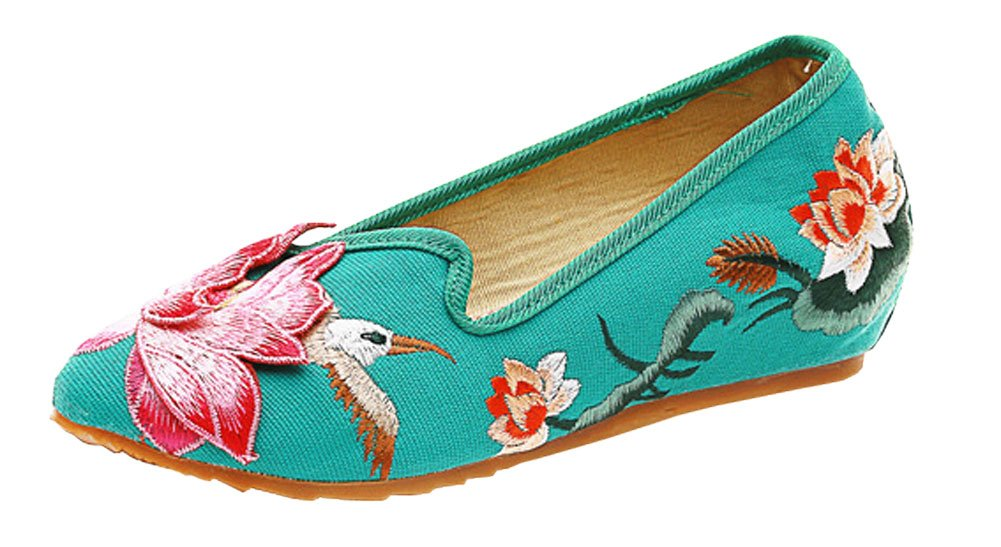 AvaCostume Women Three-Dimensional Lotus Embroidery Wedge Walking Loafer Shoes, Green 34