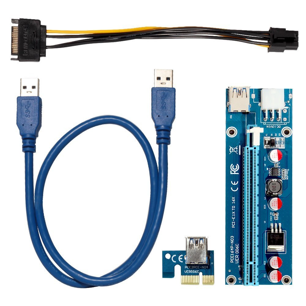 QNINE PCIe Riser 8 Pack, GPU Riser Adapter Card, PCI Express 1X to 16X Extender, Mining Graphics Card USB 3.0 Extension & 6pin MOLEX to SATA Power Cable for Ethereum Bitcoin Litecoin Device by QNINE (Image #5)