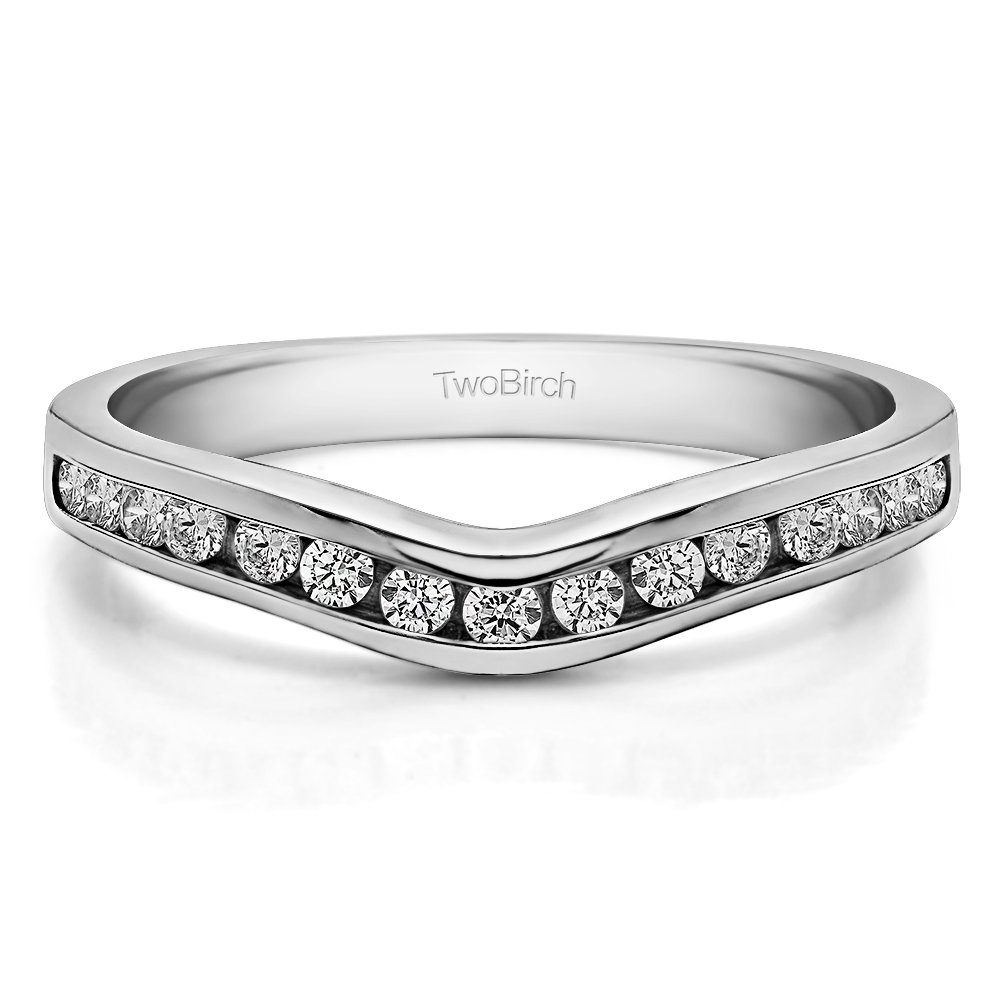 Cubic Zirconia Curved Wedding Ring In Sterling Silver(0.42Ct) Size 3 To 15 in 1/4 Size Interval