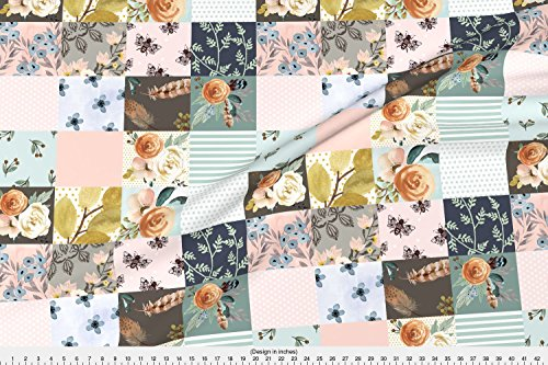 Spoonflower Quilt Fabric Western Autumn (Smaller Flowers) Whole Cloth/Cheater Quilt by Shopcabin Printed on Basic Cotton Ultra Fabric by the Yard ()