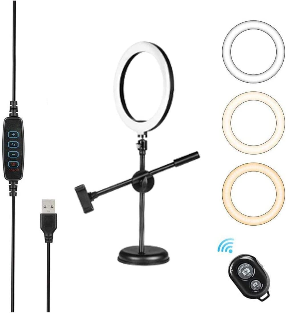 MAYOSHOA 10.24'' Ring Lightfor Still Life Photography,Online Class,Web Conference,Live Streaming,Food,Makeup with Table Stand& 2 Phone Holder