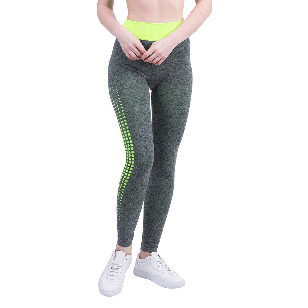 iLUGU Women Gym Yoga Patchwork Sports Running Fitness Leggings Pants Athletic Trouser(S,Green-31)