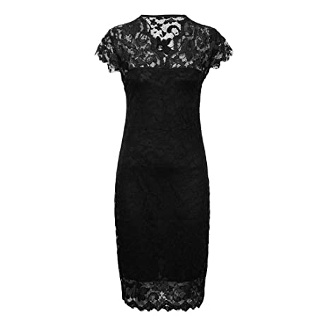 c6a4a661735f9 Amazon.com: Women's Vintage Lace Short Sleeve Business Pencil ...