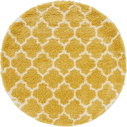 Unique Loom Rabat Shag Collection Lattice Trellis Geometric Moroccan Plush Yellow Round Rug (5' 0 x 5' 0)