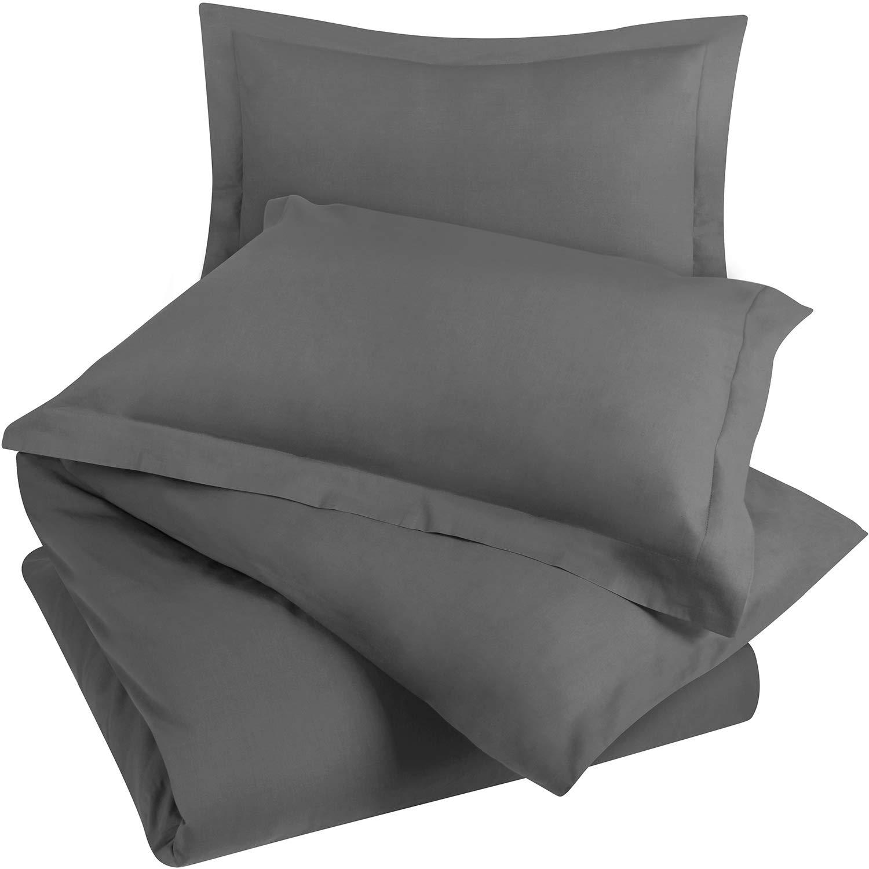 Utopia Bedding 3-Piece Cotton Duvet Cover Set – 1 Duvet Cover and 2 Pillow Shams (Queen, Grey)