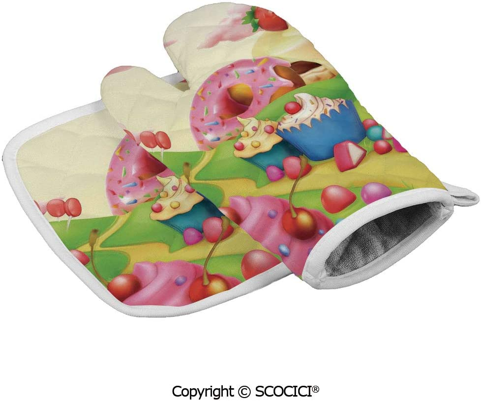SCOCICI Durable Oven Glove Yummy Donuts Sweet Land Cupcakes Ice Cream Cotton Candy Clouds Kids Nursery Heat Resistant Kitchen Insulated Glove + Insulated Square Mat Insulated Glove Combination