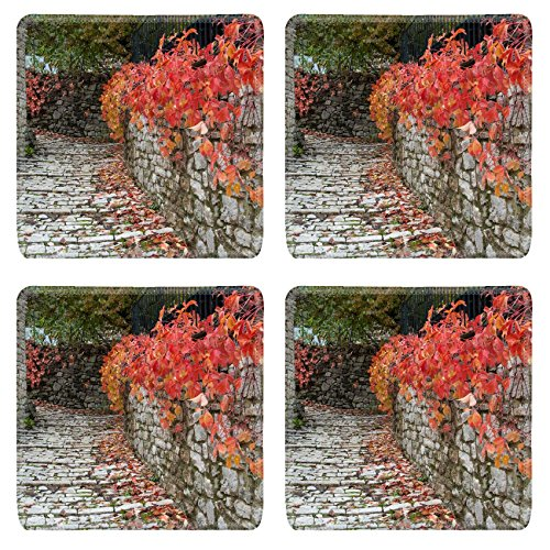 luxlady-natural-rubber-square-coaster-image-id-25994490-road-with-red-leaves-in-a-traditional-villag