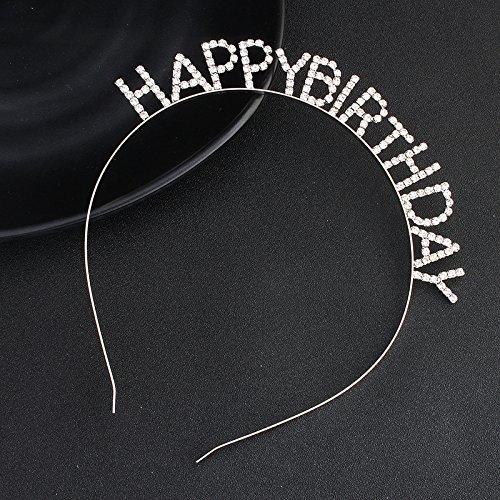 - Kercisbeauty Happy Birthday Headband with Rhinestones Crown Women Girls Party Accessories Birthday Silver Tiara
