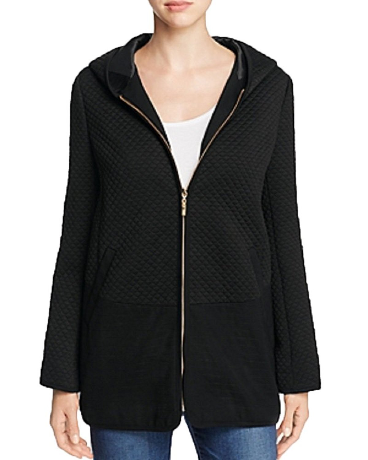 FINITY Quilted Hooded Jacket (Black, 6)