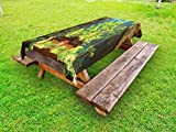 Ambesonne Natural Cave Outdoor Tablecloth, Latent Pavilion in Between the Cliffs Discovery of Faith in the Nature Picture, Decorative Washable Picnic Table Cloth, 58 X 104 Inches, Multicolor
