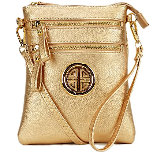 Gold Multi Leather - Lady Small Crossbody Bag Purse Lightweight Multi Pocket Shoulder Bag Messenger Bag Faux Leather Rose Gold
