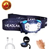 LETOUR LED Headlamp Gesture Sensing Headlight 350 Lumens 200Meters Lighting 5 Modes The Lightest(1.9 oz) Cree Waterproof Rechargeable Headlight Running Camping for Adults and Child,Built-in battery