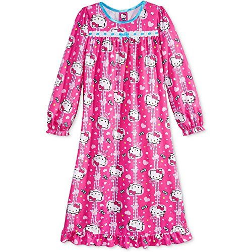 Sanrio Hello Kitty Girls Flannel Granny Gown Nightgown (Toddler/Little Kid/Big Kid) (Pink Snowflake, 5T) (Toddler Flannel Nightgown)