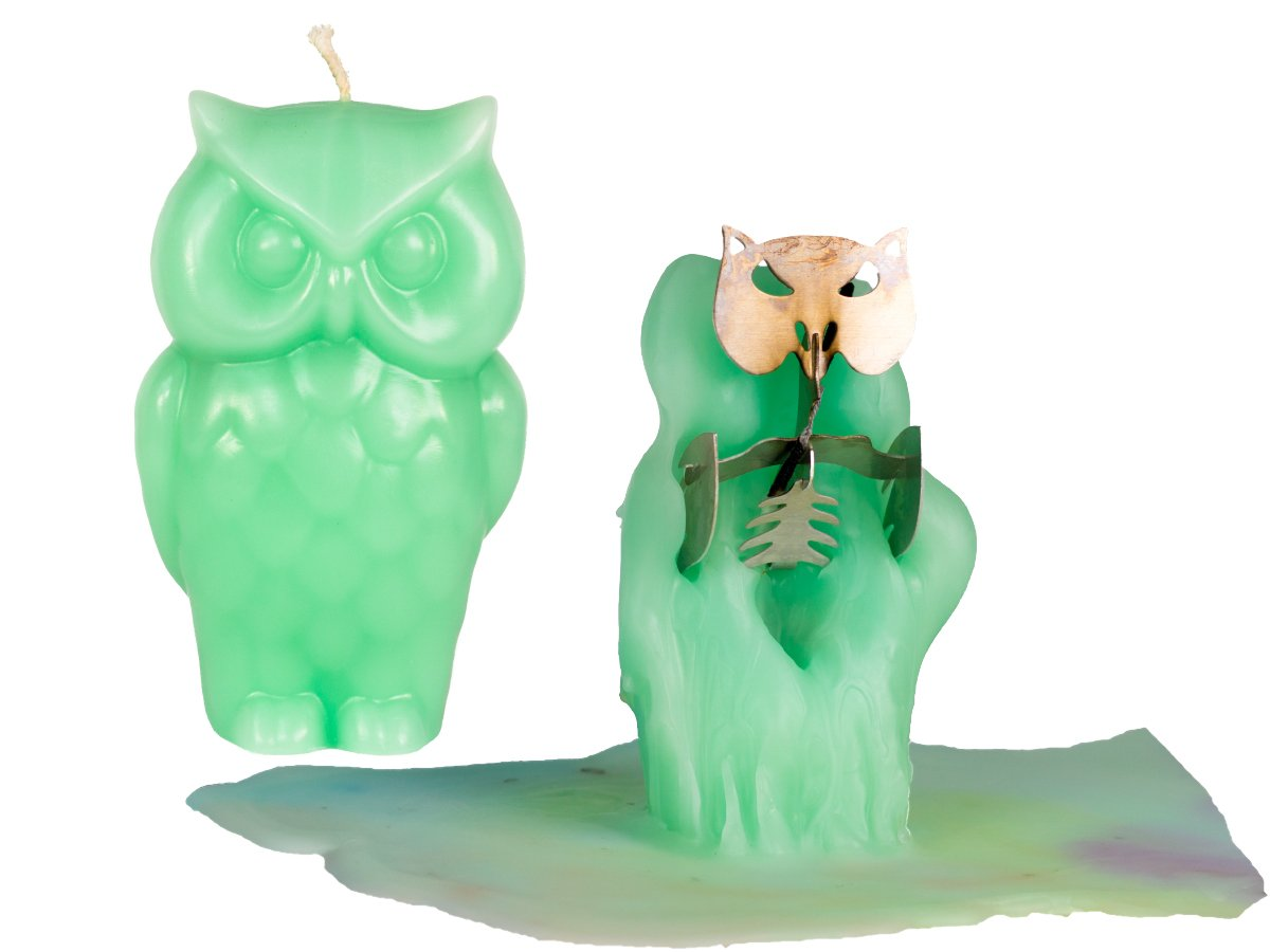Owl Candle - Unscented - Skeleton Candles - Green