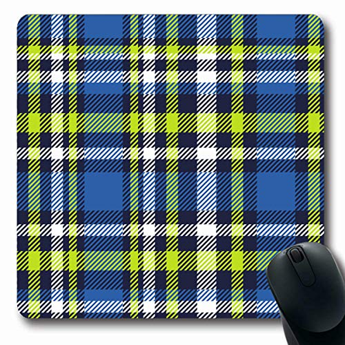 - VivYES Gaming Mousepad Custom Checker Border Plaid Check Pattern Cobalt Blue Dark Flannel in Navy Bright Lime Green White Madras Oblong Shape 7.9 x 9.5 Inches Rectangle Non-Slip Rubber Mouse Pads