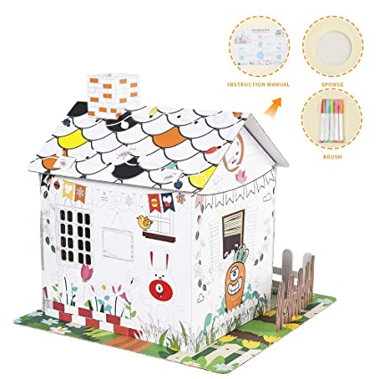 "Youwo Country Cottage Coloring Playhouse for Kids (Vibrant Exterior  Artwork, 12.9"" H x 9.4"" W x 11.8"" L)"