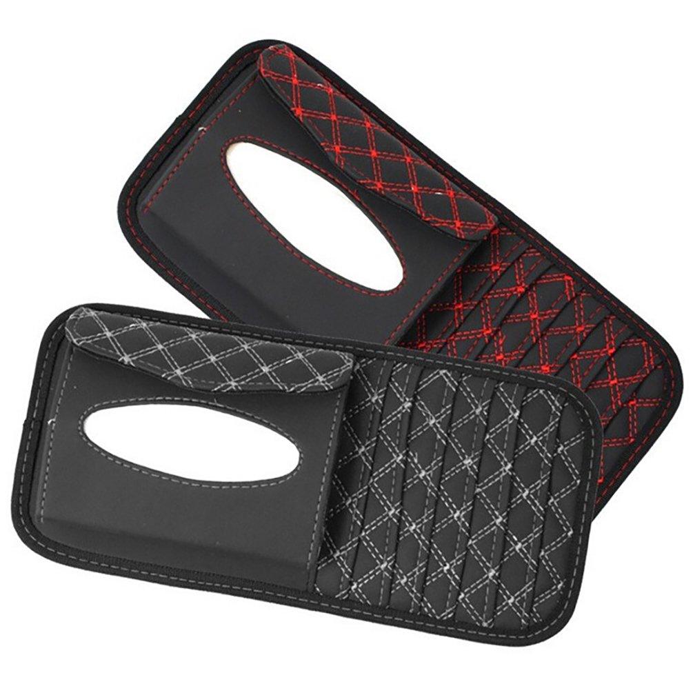 HUPLUE 2Pcs CD Visor Organizer Car Sun Visor Tissue Bag Multi Function Car Vehicle Pocket CD Holder Visor with Tissue Holder