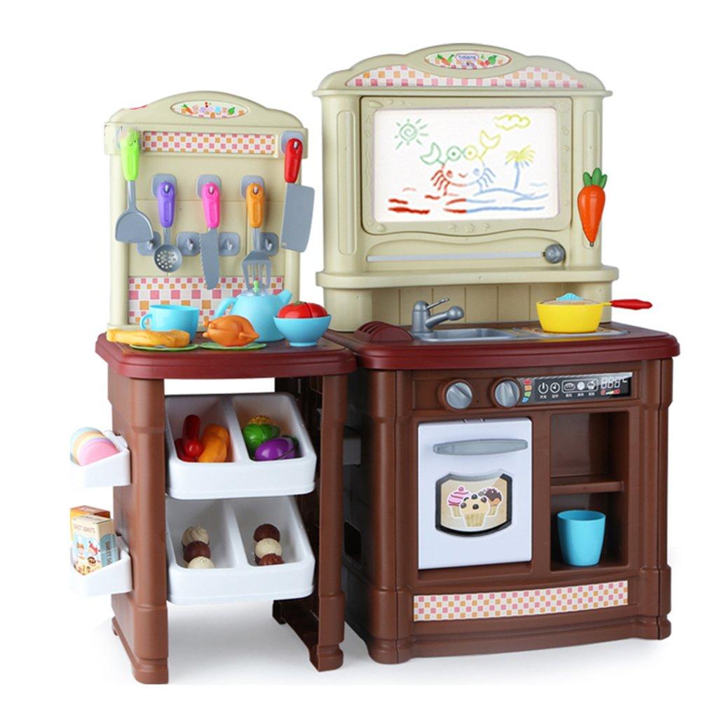 HJXDJP- 子供の ままごと遊び 多機能キッチンのおもちゃ 家族の料理ゲームをする ドローボード、食品、ポット、調理器具などを含む合計70個の付属品 (男の子) B074Z6L4GN  男の子