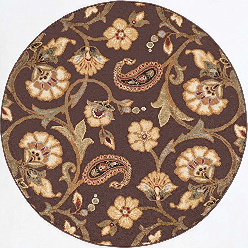 Brianna Transitional Floral Brown Round Area Rug, 8' Round