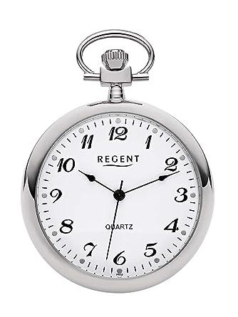 003Amazon Taschenuhr Silberfarben Verchromt Analog Quarz Regent Pr A354RjqcL