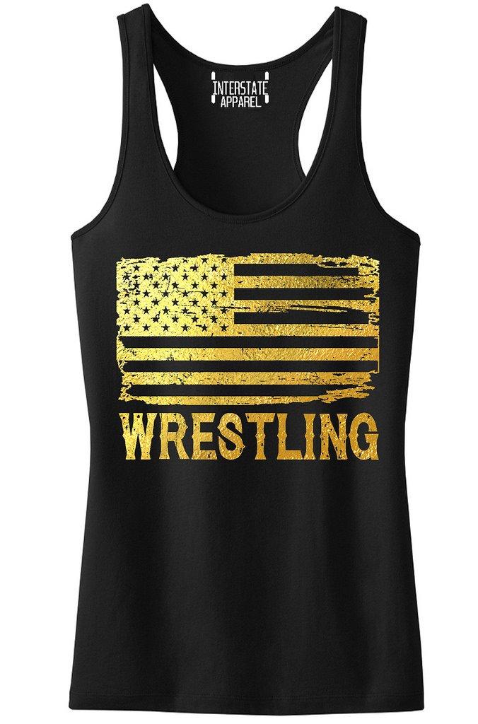 Interstate Apparel Inc Junior's Gold Foil Wrestling American Flag Black Racerback Tank Top T-Shirt X-Large Black