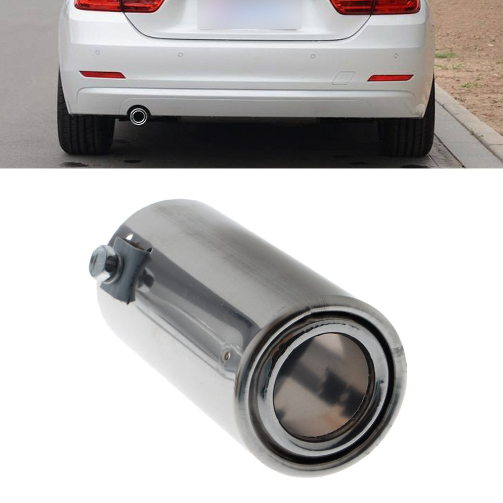 FXCO Embout de pot d/échappement rond arri/ère en acier inoxydable pour voiture