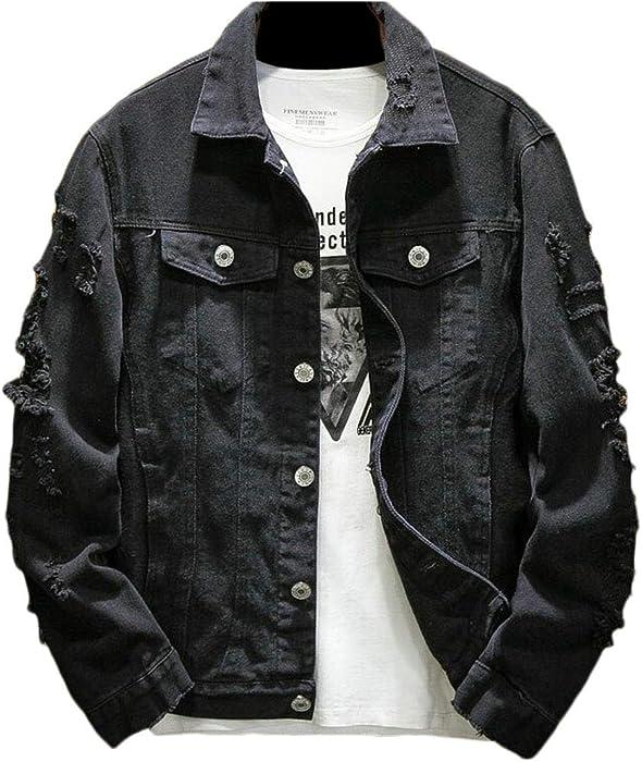 7ba879bd1b4 Domple Men Pockets Plus Size Embroidery Distressed Denim Jacket Jean Coat  Black US XS