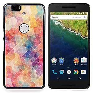 GIFT CHOICE / Teléfono Estuche protector Duro Cáscara Funda Cubierta Caso / Hard Case for Huawei Google Nexus 6P // Polygon Pattern Abstract Pastel Colors //